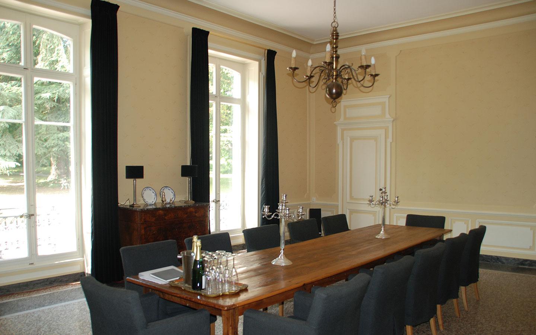 De eetkamer van Chateau Les Bardons