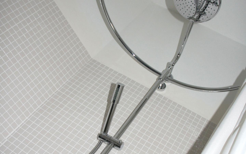 Plattegrond van de badkamer bij Chateau Les Bardons